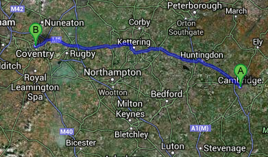 SameDay Courier Cambridge to Coventry