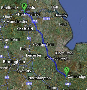 Same Day Courier from Cambridge to Wakefield