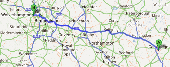 same day courier from cambridge to wolverhampton